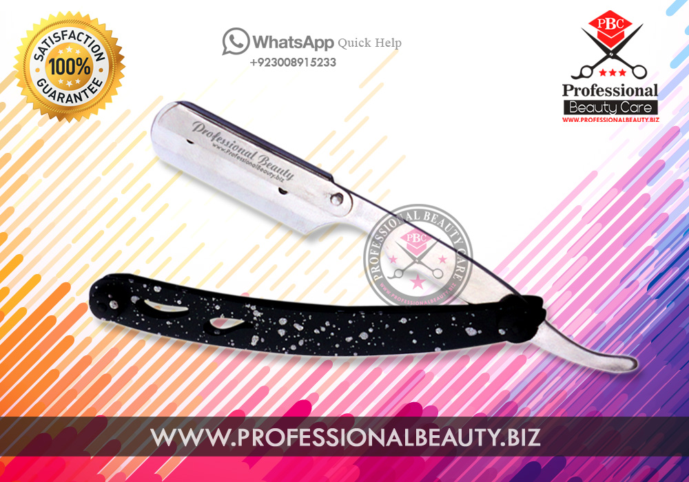 SPOTTED DESIGN MATTED RAZOR STAINLESS STEEL STRAIGHT RAZOR