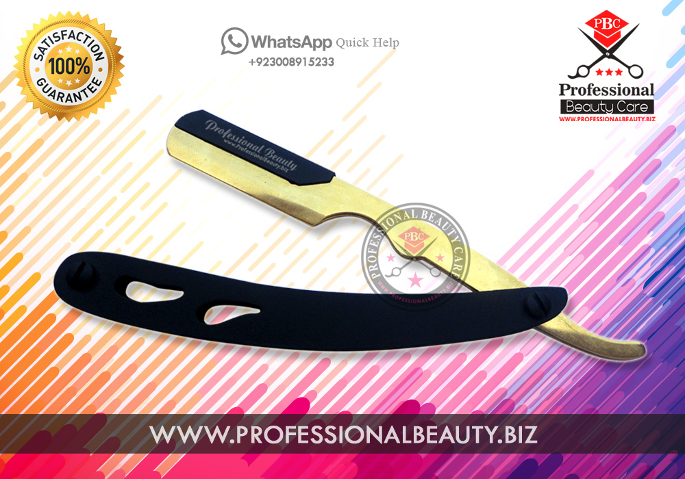 POWDER COATED MATTING GOLD PLATED TIP STAINLESS STEEL STRAIGHT RAZOR HOLE DESIGN